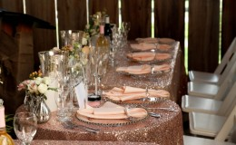 Blush sequin head table Unmistakably You