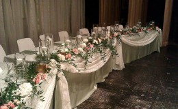 Celadon and coral head table Unmistakably You