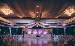 Purple wedding ceiling draping Unmistakably You